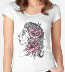Face with Roses Women's Fitted Scoop T-Shirt