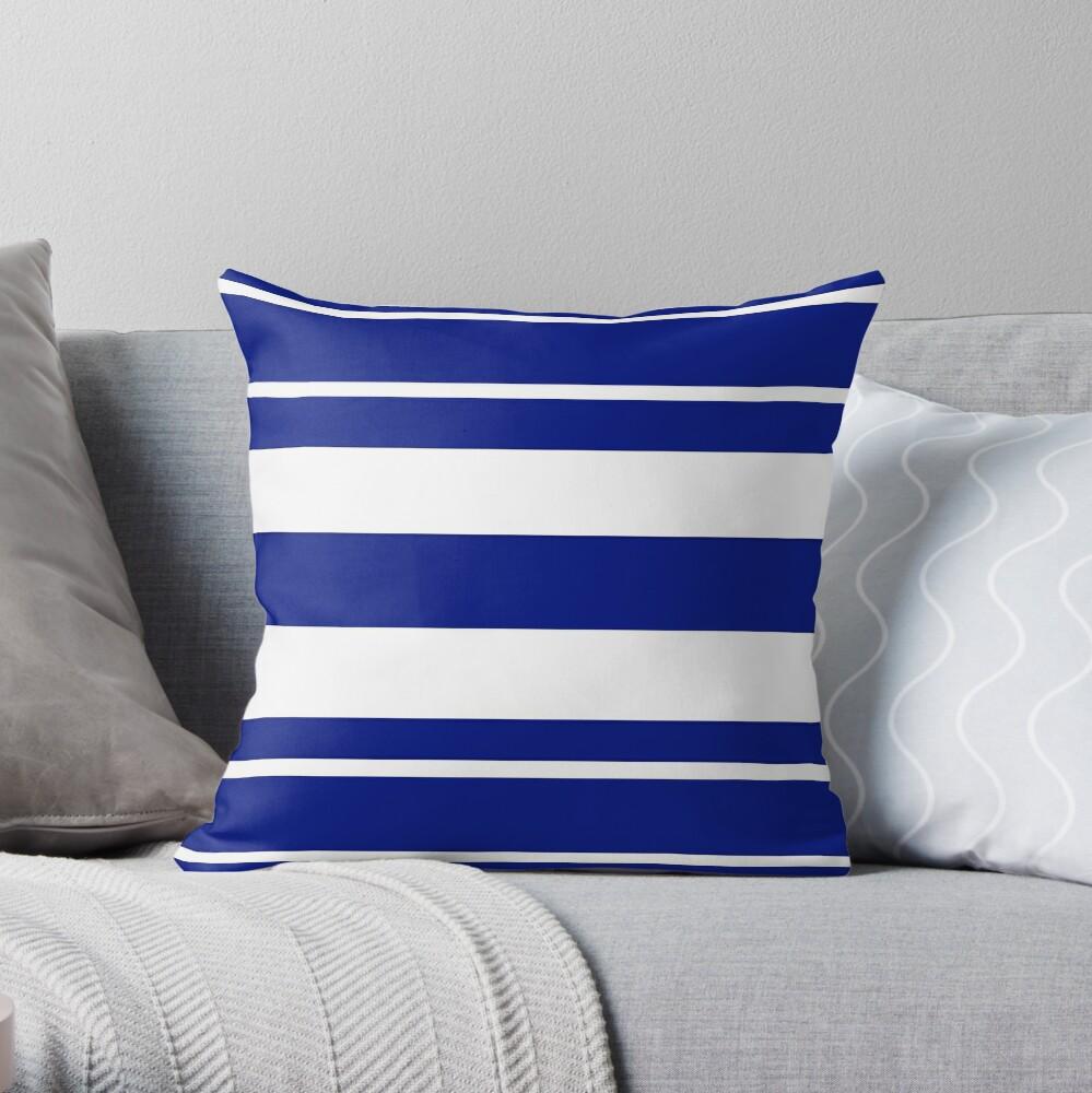 Navy blue and white stripe pattern Throw Pillow