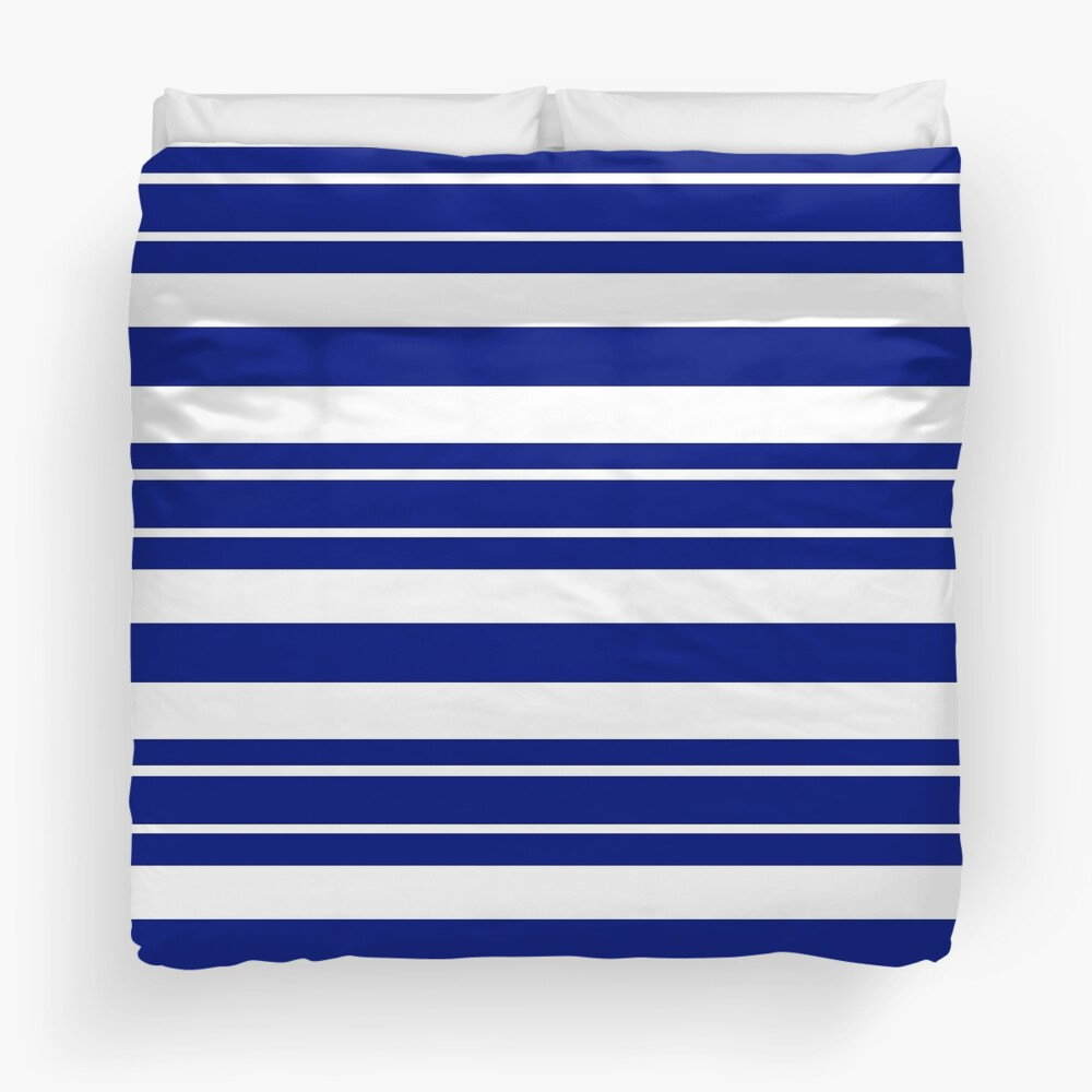 Navy blue and white stripe pattern Duvet Cover