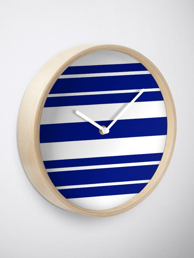 Alternate view of Navy blue and white stripe pattern Clock