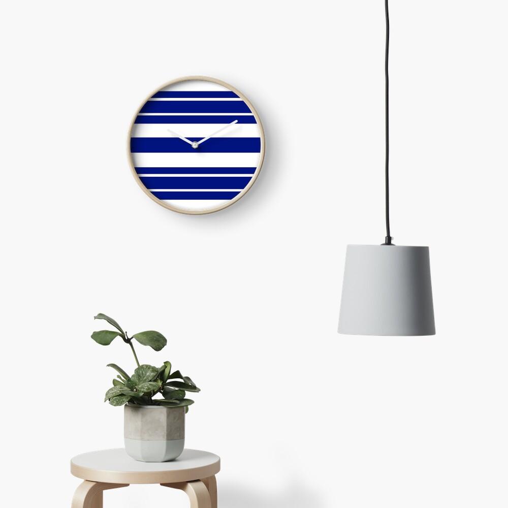Navy blue and white stripe pattern Clock