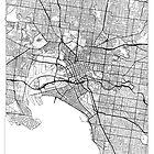 Melbourne Map Minimal by HubertRoguski