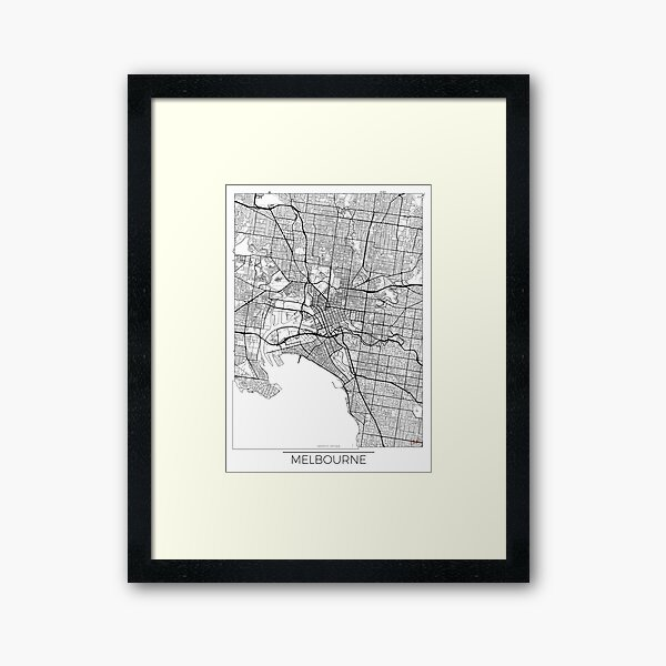 Melbourne Map Minimal Framed Art Print