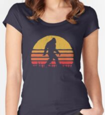 Retro Bigfoot Silhouette Sun Vintage  - Believe! Women's Fitted Scoop T-Shirt