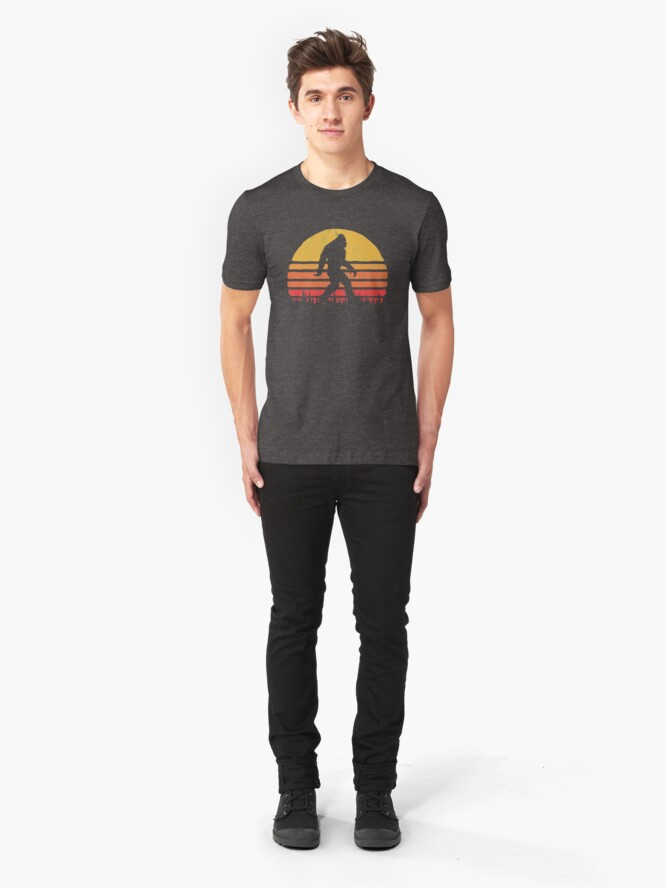 Alternate view of Retro Bigfoot Silhouette Sun Vintage  - Believe! Slim Fit T-Shirt