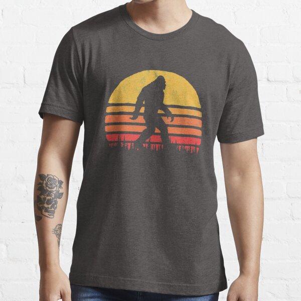 Retro Bigfoot Silhouette Sun Vintage  - Believe! Essential T-Shirt