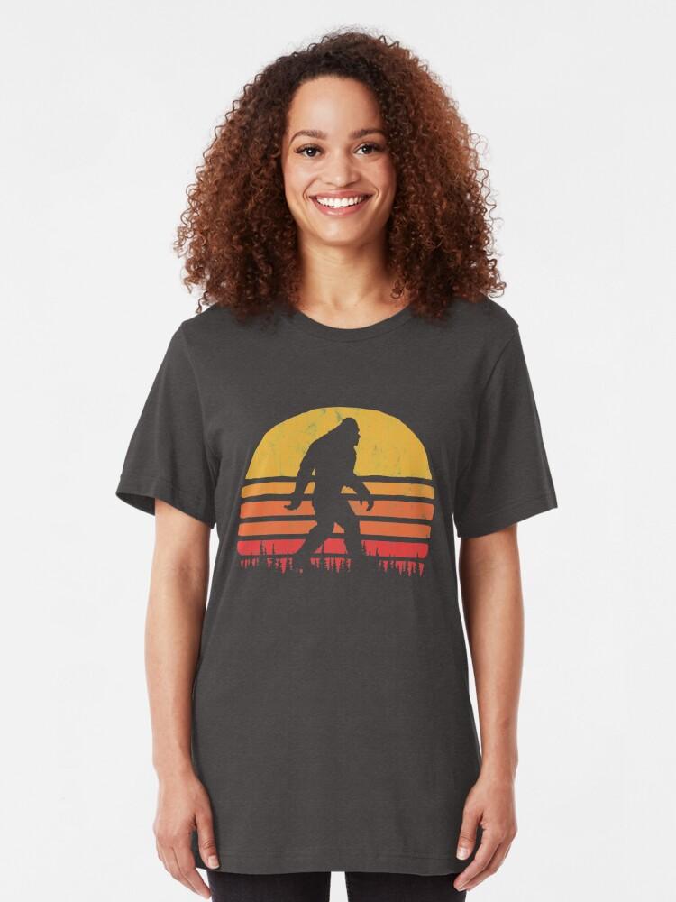 Alternate view of Retro Bigfoot Silhouette Sun Vintage  - Believe! Slim Fit T-Shirt