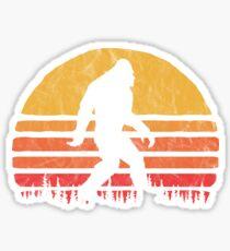 Retro Bigfoot Silhouette Sun Vintage - Glauben! Sticker