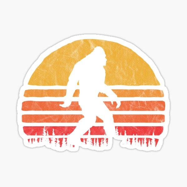 Retro Bigfoot Silhouette Sun Vintage  - Believe! Sticker