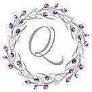 Monogrammbuchstabe Q | Personalisiert | Aquarell Design von PraiseQuotes