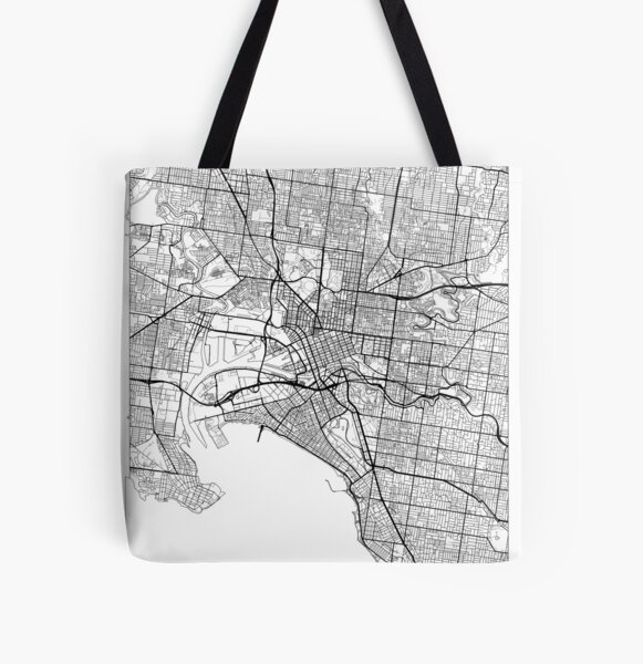 Melbourne Map Minimal All Over Print Tote Bag