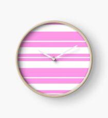 Pink and white stripe pattern  Clock