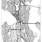 Seattle Map Minimal by HubertRoguski