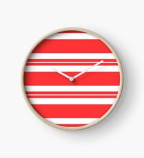 Tomato red and white stripe pattern  Clock