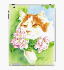 Ginger and white cat in Apple Blossom Tree iPad Case/Skin