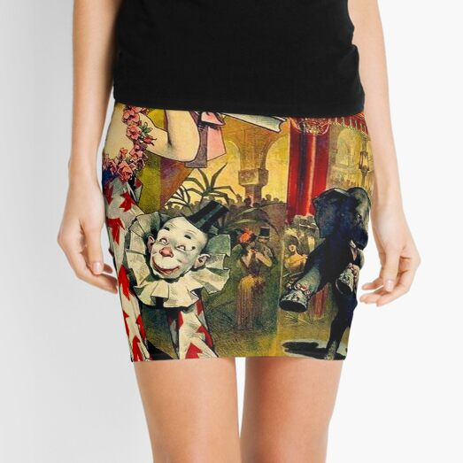 CIRCUS : Vintage 1890 Circus Advertising Print Mini Skirt