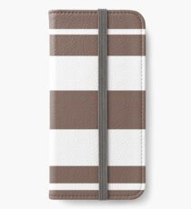 Taupe brown and white stripe pattern iPhone Wallet/Case/Skin