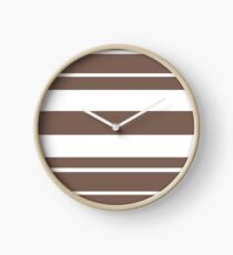 Taupe brown and white stripe pattern Clock