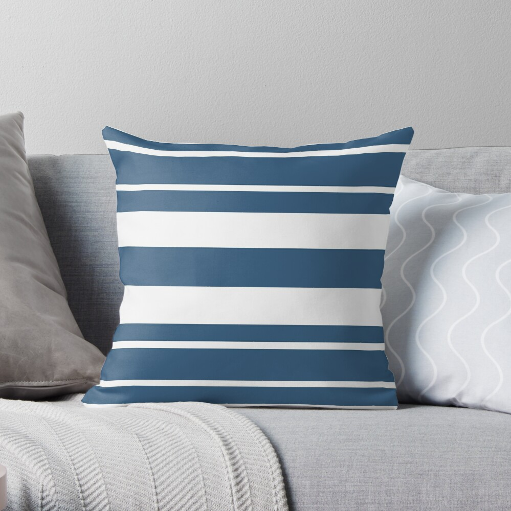 Teal blue and white stripe pattern Throw Pillow