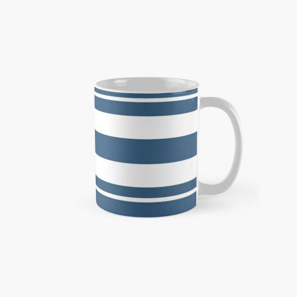 Teal blue and white stripe pattern Classic Mug
