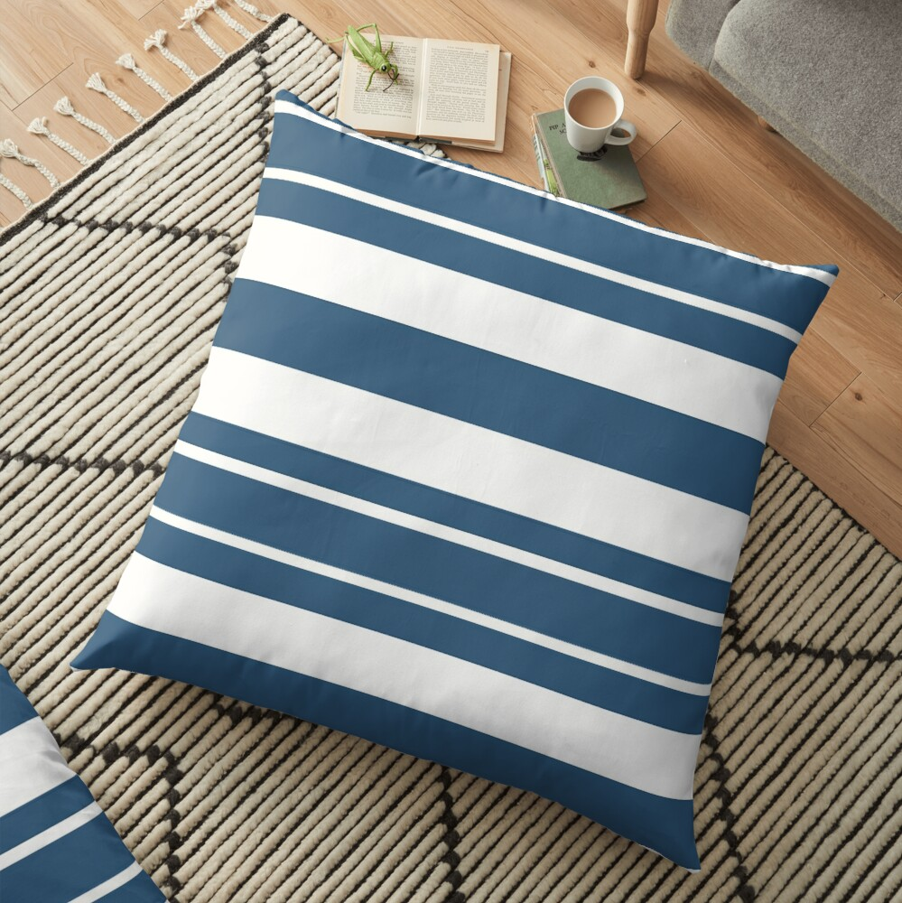 Teal blue and white stripe pattern Floor Pillow