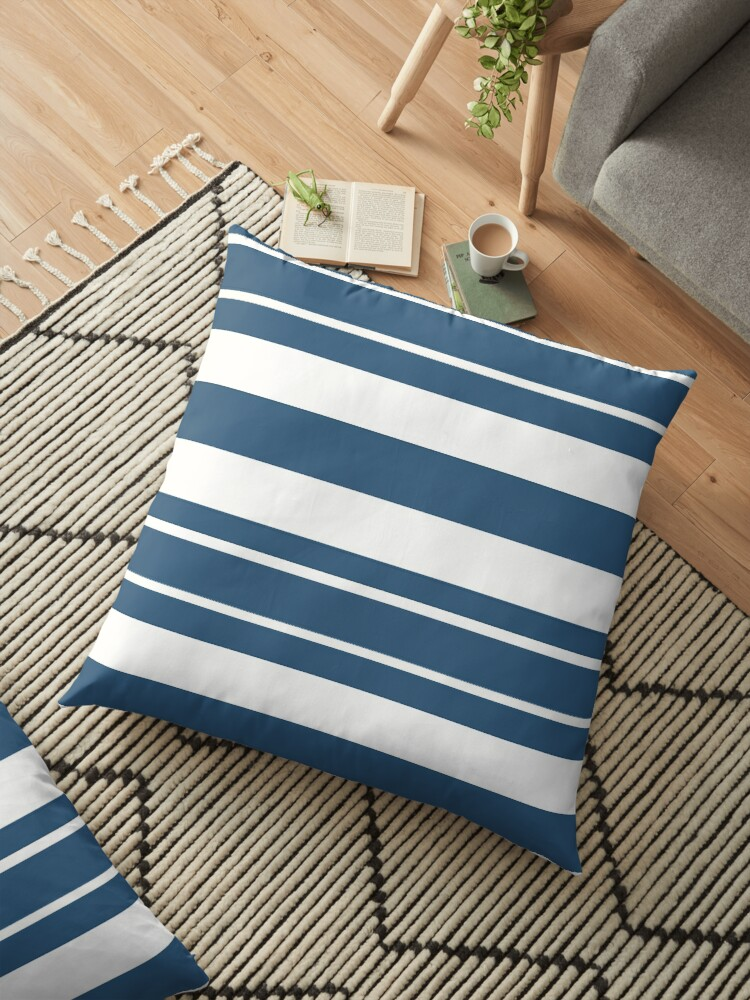 Teal blue and white stripe pattern by HEVIFineart
