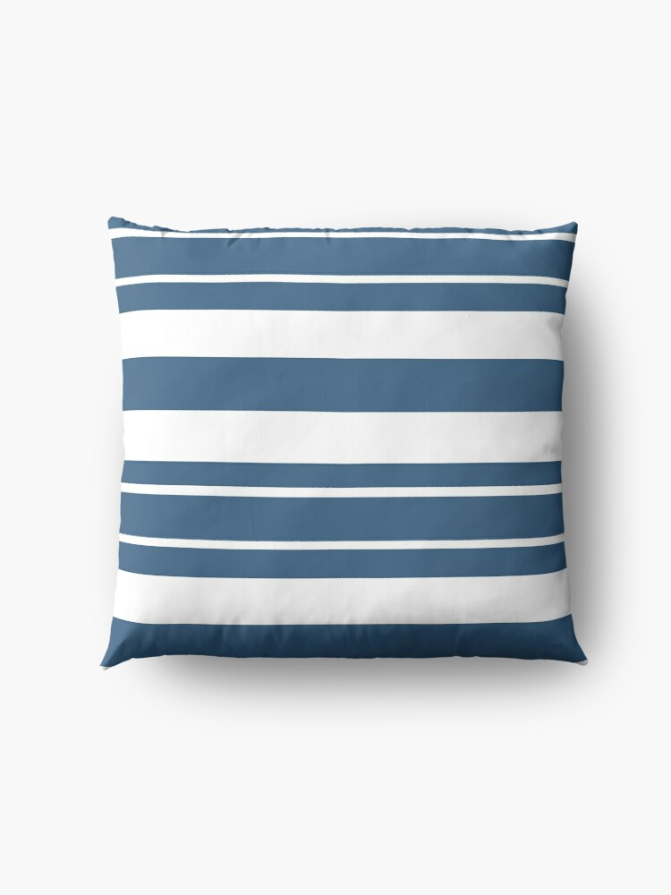 Alternate view of Teal blue and white stripe pattern Floor Pillow