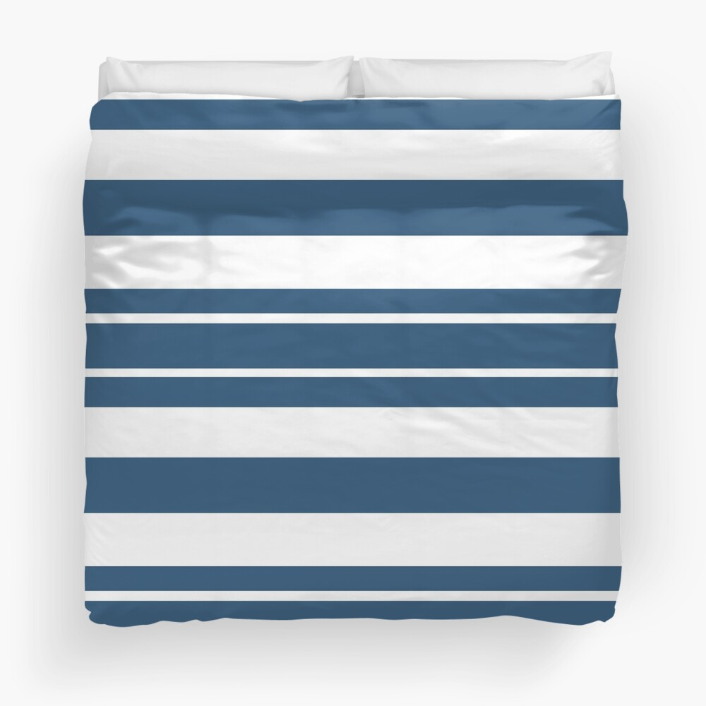 Teal blue and white stripe pattern Duvet Cover