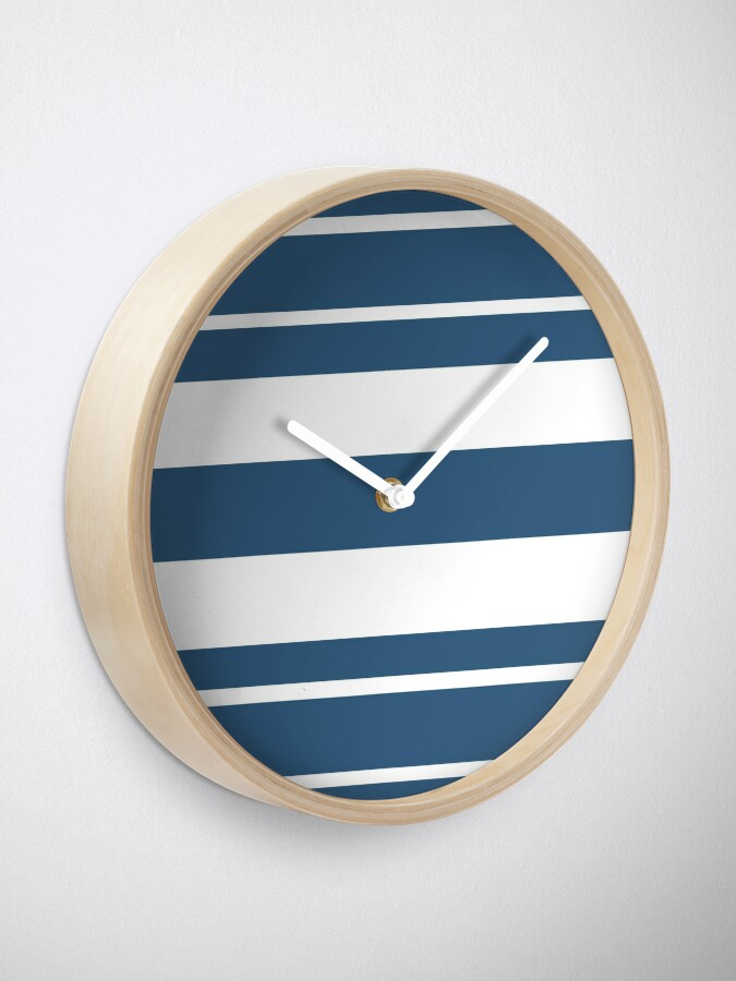 Alternate view of Teal blue and white stripe pattern Clock