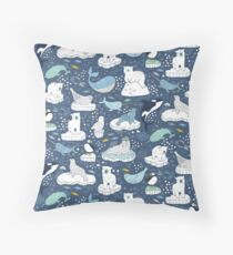 Arctic Animal Icebergs - blue and mustard - Fun Pattern by Cecca Designs Throw Pillow