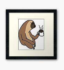 Cute Sloth Drinking Coffee Framed Print