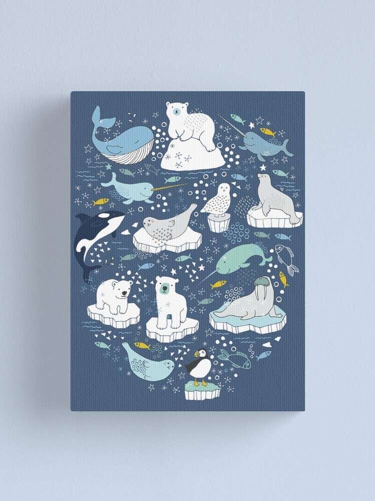 Alternate view of Arctic Animal Icebergs - blue and mustard - Fun Pattern by Cecca Designs Canvas Print