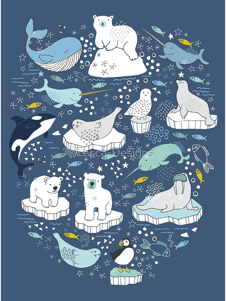 Arctic Animal Icebergs - blue and mustard - Fun Pattern by Cecca Designs by Cecca-Designs