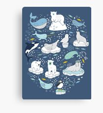 Arctic Animal Icebergs - blue and mustard - Fun Pattern by Cecca Designs Canvas Print