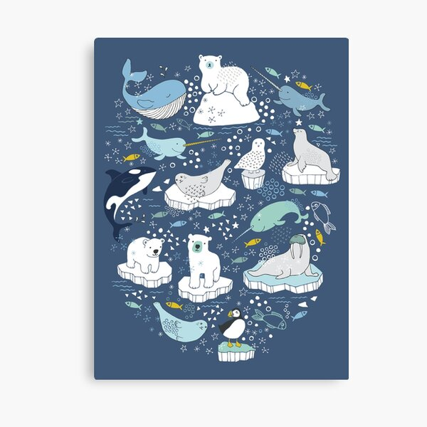 Arctic Animal Icebergs - blue and mustard - Fun Pattern by Cecca Designs Canvas Print