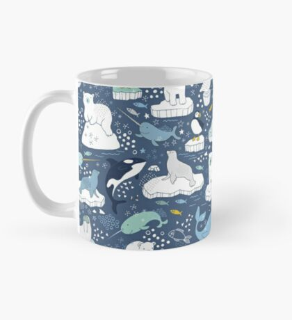 Arctic Animal Icebergs - blue and mustard - Fun Pattern by Cecca Designs Mug