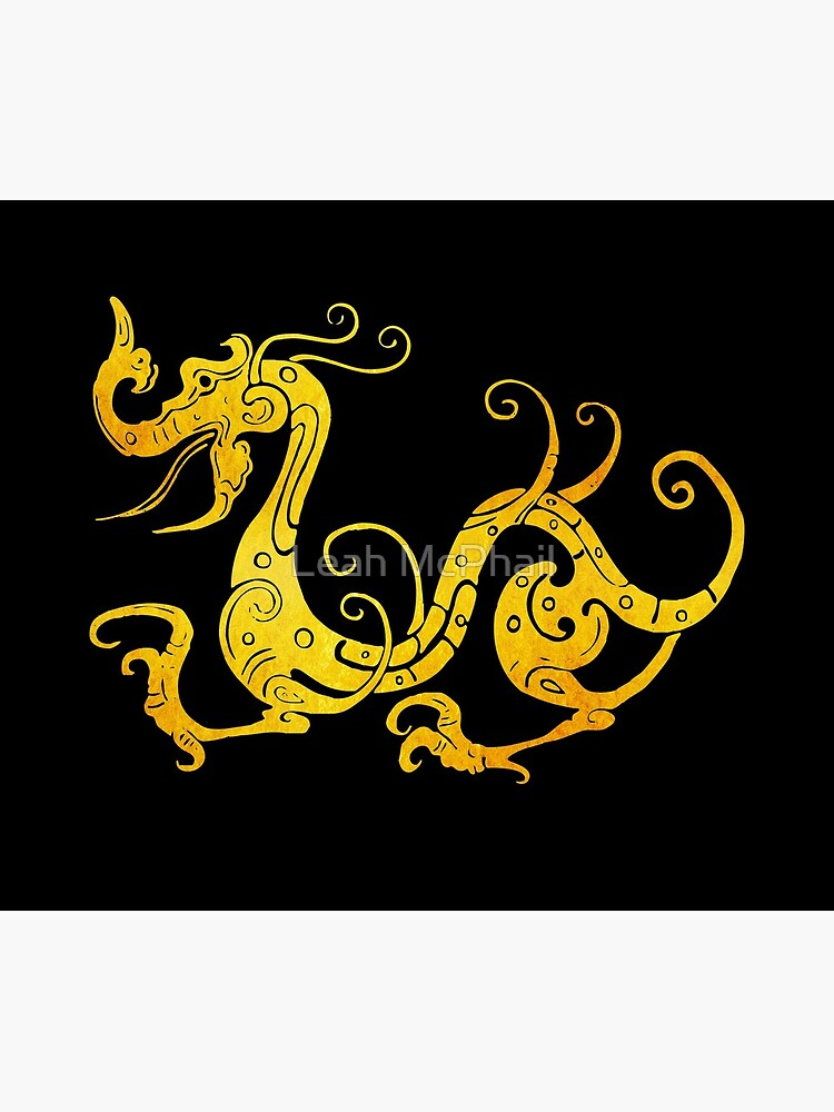 Gold Copper Dragon on Black by LeahMcPhail