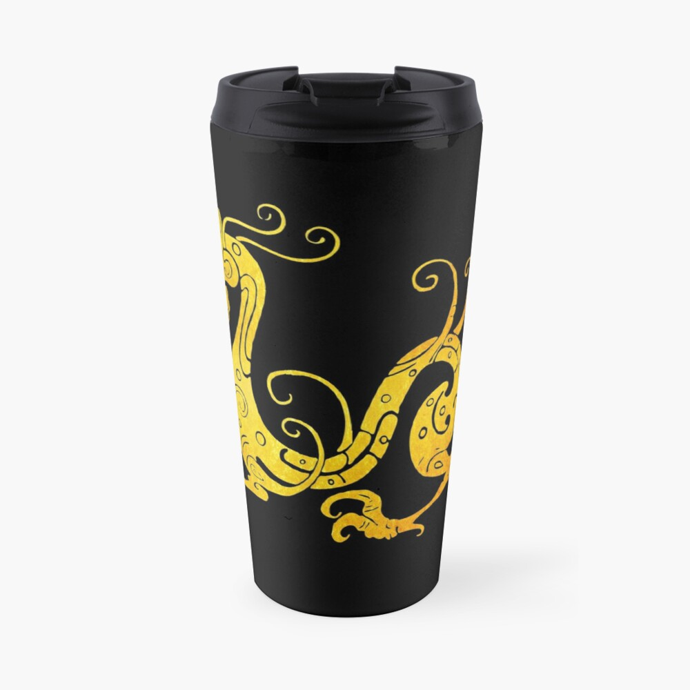 Gold Copper Dragon on Black Travel Mug
