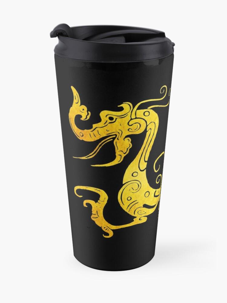 Alternate view of Gold Copper Dragon on Black Travel Mug