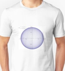 Plot x=(1-exp(-t/10))*cos(2*pi*t), y=(1-exp(-t/10))*sin(2*pi*t), for t=0 to 25 Unisex T-Shirt