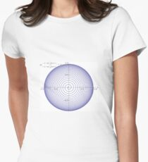 Plot x=(1-exp(-t/10))*cos(2*pi*t), y=(1-exp(-t/10))*sin(2*pi*t), for t=0 to 25 Women's Fitted T-Shirt