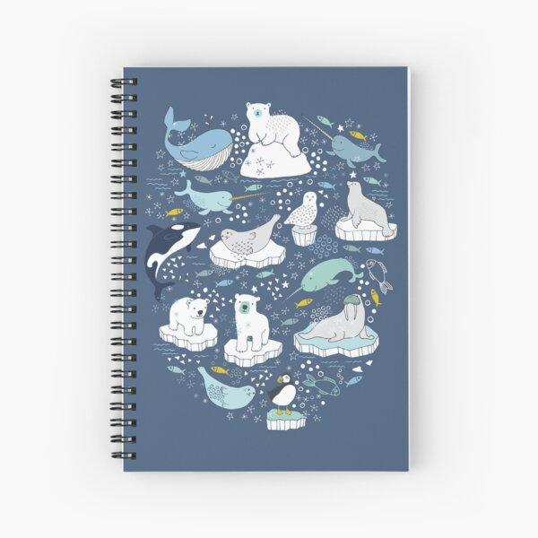 Arctic Animal Icebergs - blue and mustard - Fun Pattern by Cecca Designs Spiral Notebook