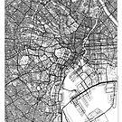 Tokyo Map Minimal by HubertRoguski
