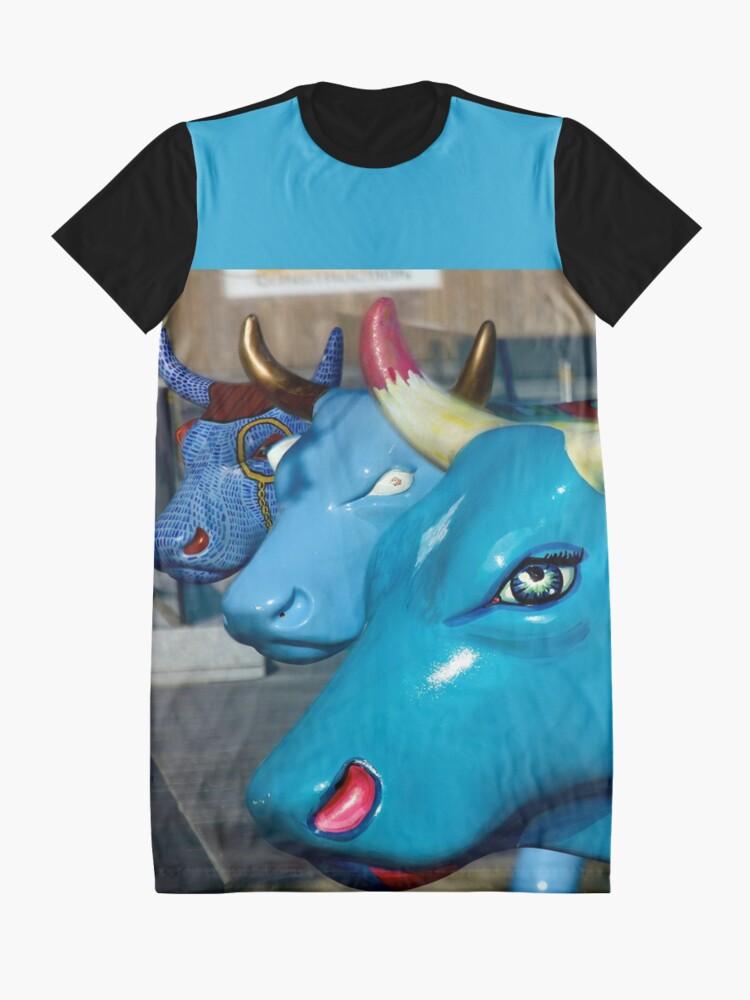 Alternate view of Three Cows on Parade, Ebrington Sq, Derry Graphic T-Shirt Dress