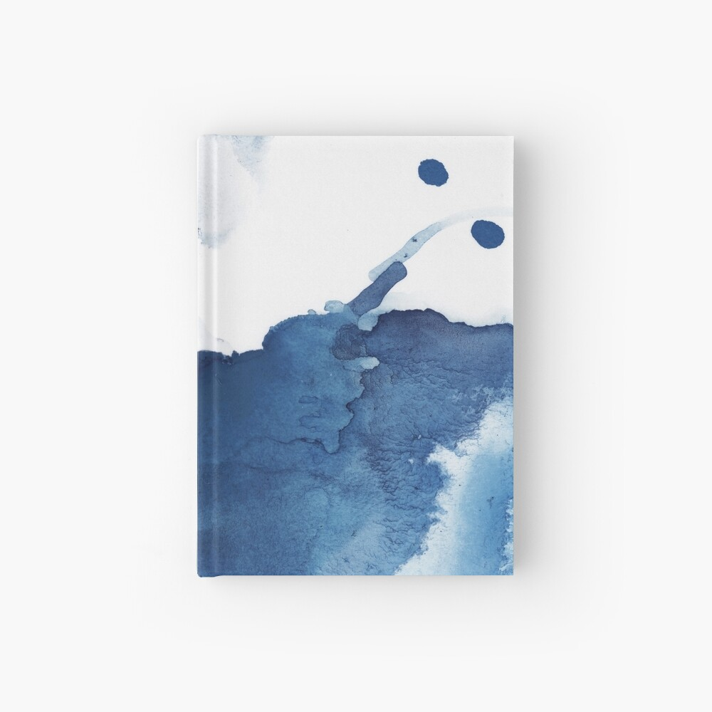 Indigo Blue Sea, Abstract Ink Painting Hardcover Journal