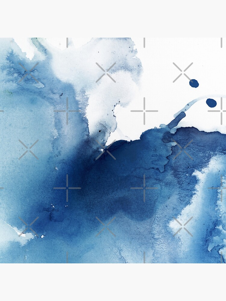 Indigo Blue Sea, Abstract Ink Painting by PrintsProject