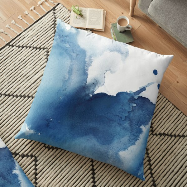 Indigo Blue Sea, Abstract Ink Painting Floor Pillow