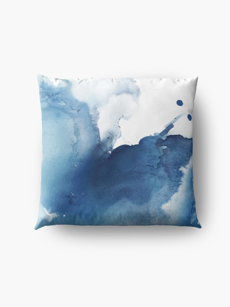 Alternate view of Indigo Blue Sea, Abstract Ink Painting Floor Pillow