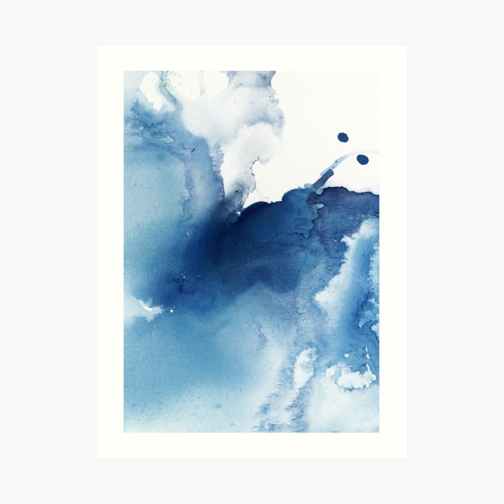 Indigo Blue Sea, Abstract Ink Painting Art Print