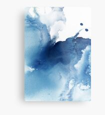 Indigo Blue Sea, Abstract Ink Painting Metal Print